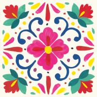 Floral Fiesta White Tile VII #41526