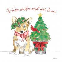 Holiday Paws V on White #54342