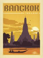 VINTAGE ADVERTISING BANGKOK THAILAND TEMPLE RIVER BOAT #JOEAND 116792
