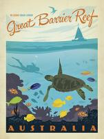 VINTAGE ADVERTISING GREAT BARRIER REEF QUEENSLAND AUSTRALIA TURTLE FISH DIVING #JOEAND 116794