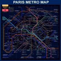 Paris Metro Map- Blue #BE113620
